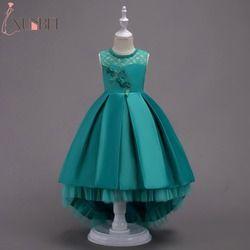 Pretty High Low Satin Flower Girl Dresses 6 Colors 2019 Beaded Appliqued Dresses For Girls Kids Prom Dresses vestido daminha