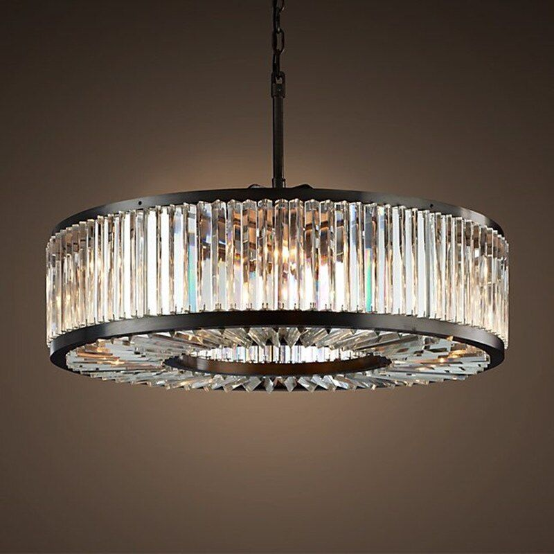 American RH Crystal Lustre Led Pendant Light Loft Retro Hanging Light Led Pendant Lighting Suspend Lamp Indoor Drop Light