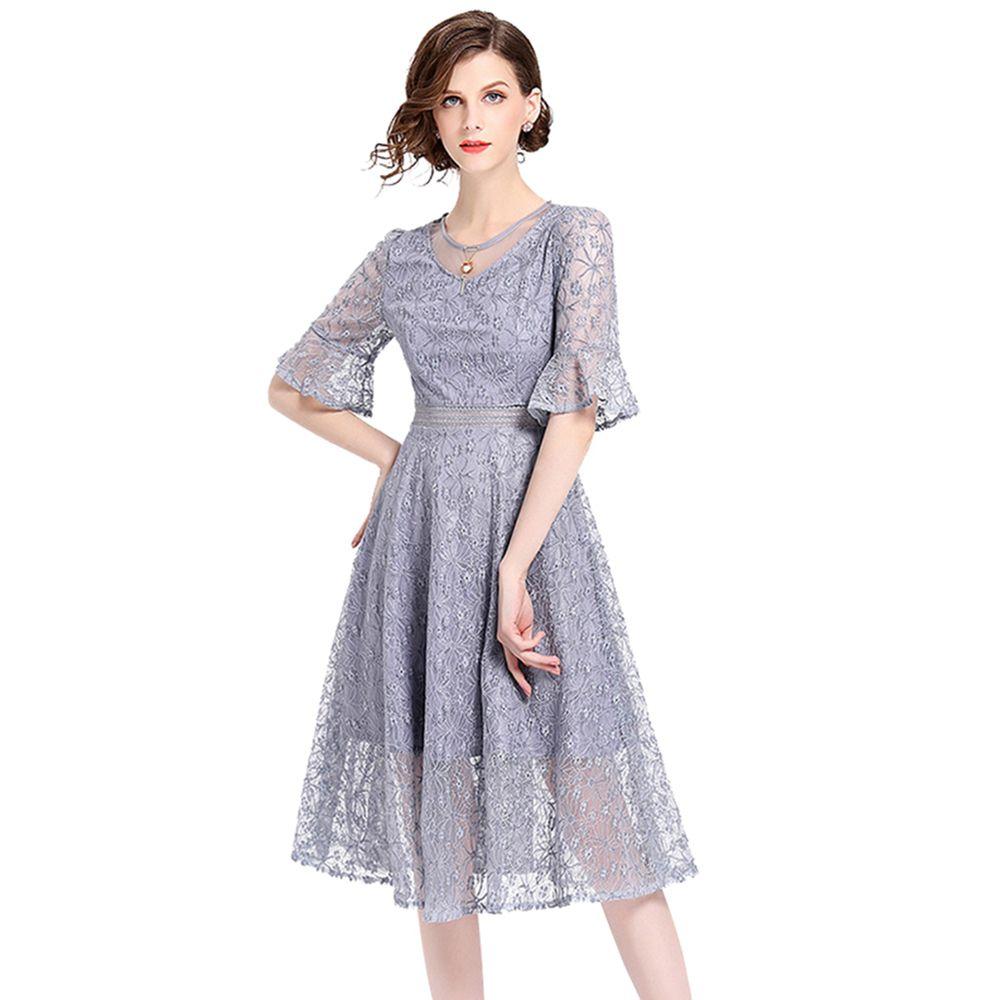 women tunic dress 2018 half flare sleeve vestidos verano casual mujer yellow party dresses midi elegant summer lace dress