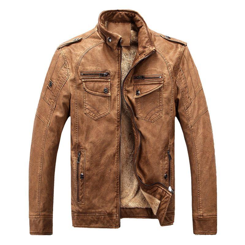 Hot brand quality Autumn And Winter men leather jacket warm plus velvet coat leisure men jacket motorcycle Windproof PU leather