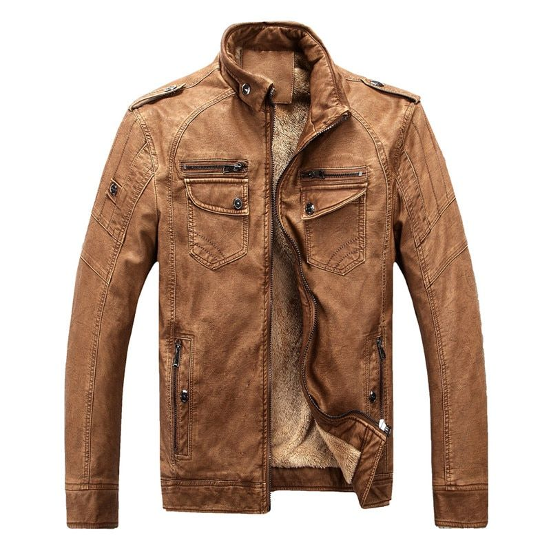 Hot brand <font><b>quality</b></font> Autumn And Winter men leather jacket warm plus velvet coat leisure men jacket motorcycle Windproof PU leather