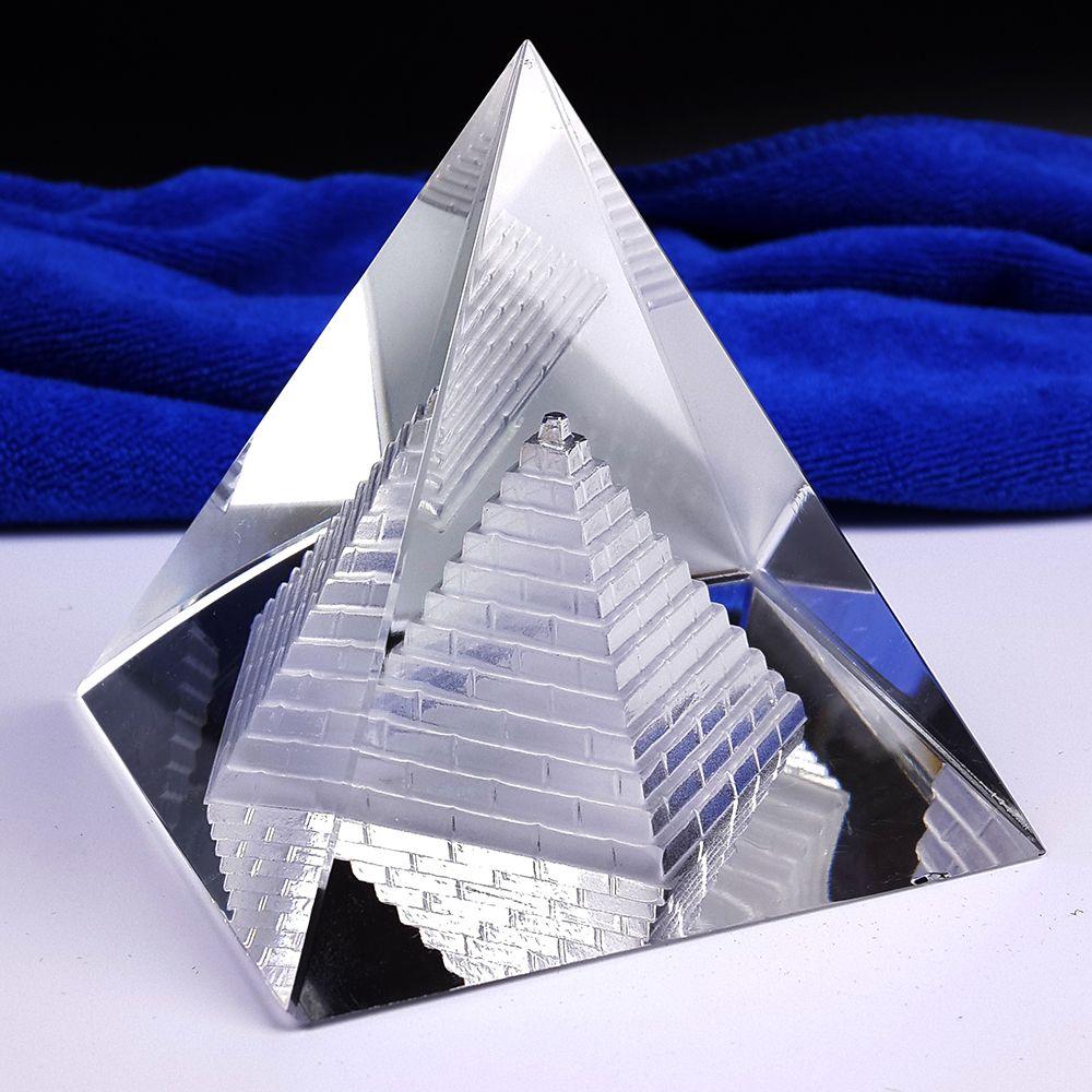 Livraison gratuite Fengshui creux pyramide guérison cristal Wicca artisanat bureau presse-papier
