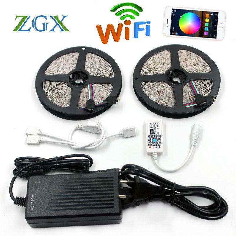 ZGX SMD 5050 WiFi LED Strip RGB 5M 10M 60led/m Light Flexible Tape ribbon string IP 65 Waterproof DC 12V adapter set indoor 220V