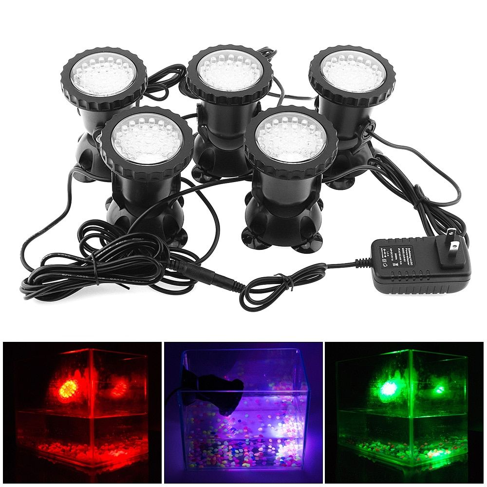5pcs 12V LED Underwater Spotlight Lamp 7 Colors Changing Waterproof Spot Light for Garden Fountain Fish Tank Pool Pond Lighting