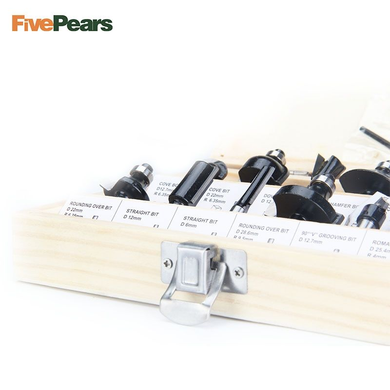 FivePears 12pcs 6mm Router Bits Set Professional Shank Tungsten Carbide Router Bit Cutter Set With Wooden Case For Wood