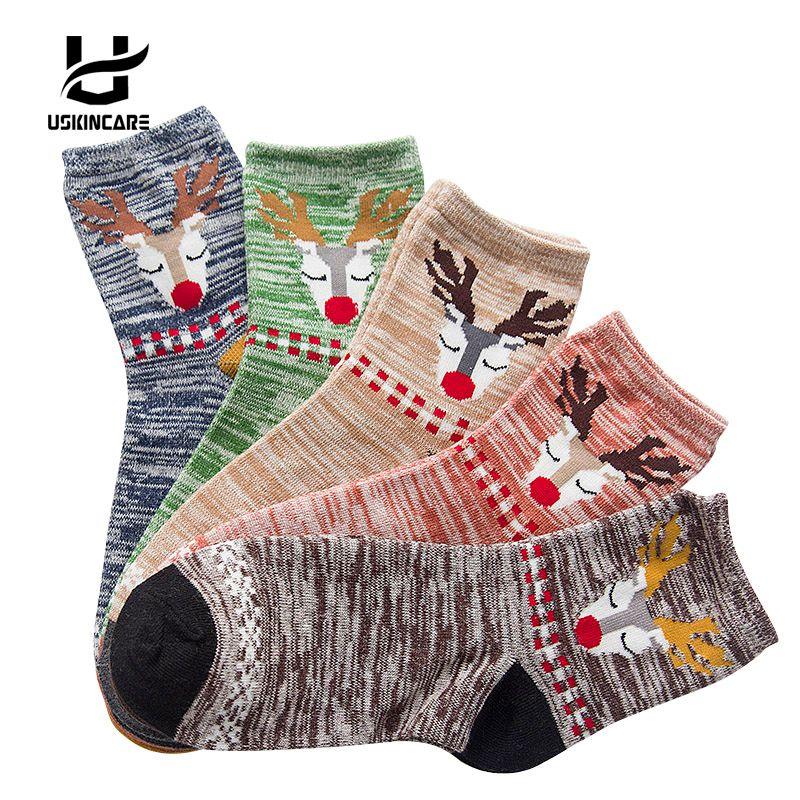 Uskincare 5 Pairs /lot Women Socks Thermal Socks Cotton Breathable Female Casual Cartoon 3d Ladies Casual Home Warm Socks