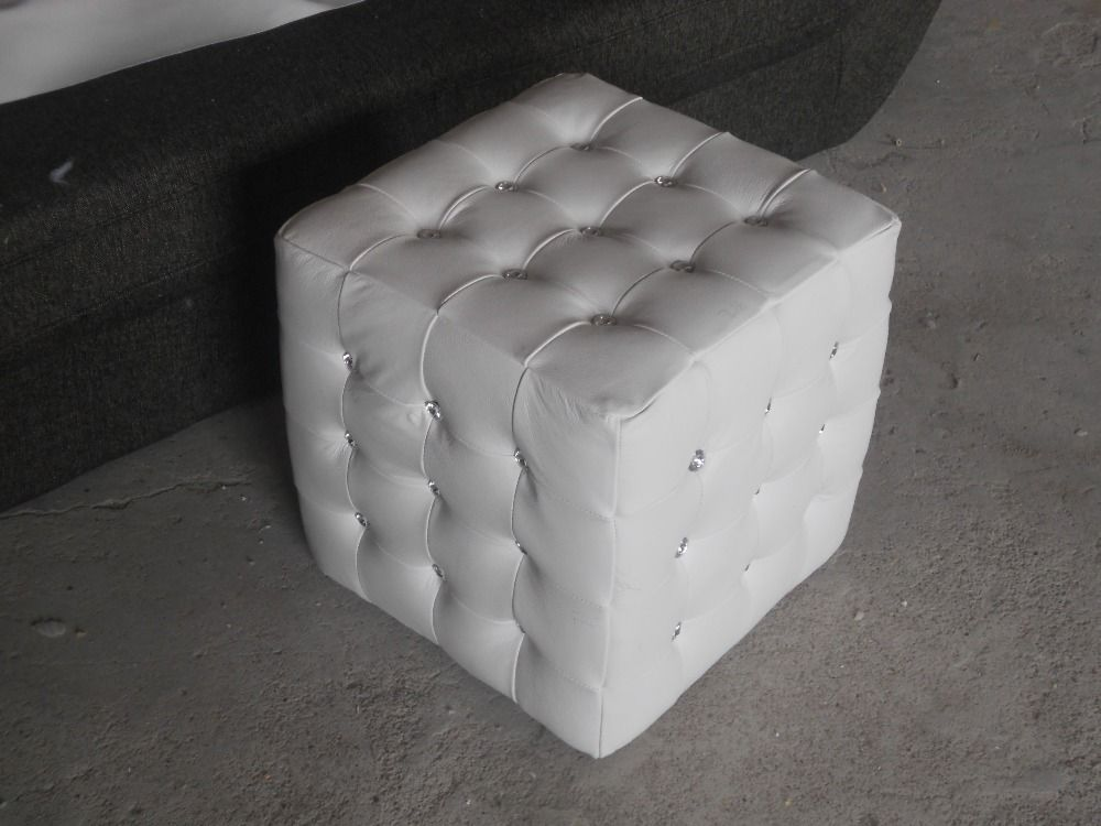 rectangle white color modern style top graded cow real leather ottoman/stool living room home furniture with crystal buttons
