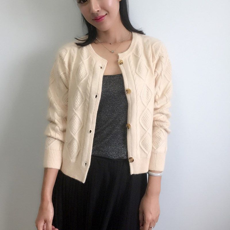 spring NEW lady Cashmere Cardigan fashion short paragraph Sweater thickened twist round neck Cashmere Sweaters knitting jacket