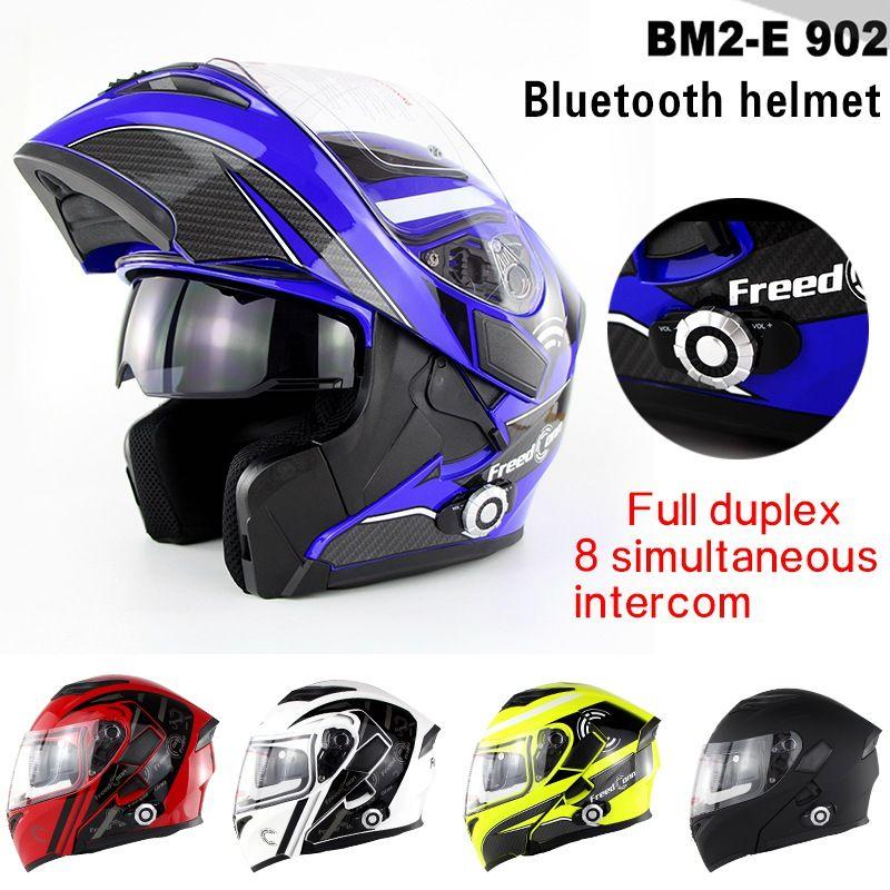 Upgrade 1500 mt 8-fach Vollduplex Eingebaute BT Headset Vollgesichts Casco Bluetooth Motorradhelm Flip up Capacetes BM2-E