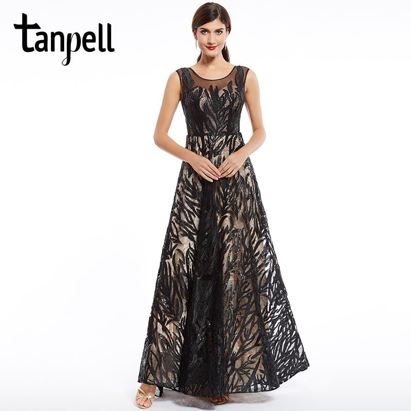 Tanpell scoop long evening dress black sleeveless a line floor length gown beaded appliques women party formal evening dresses