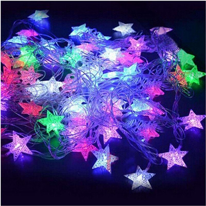 10 m 50Led Lumières De Noël Arbre de Neige Étoiles Ampoules Led Cordes Fée Lumière Xmas Party De Mariage Jardin Guirlande De Noël Décorations