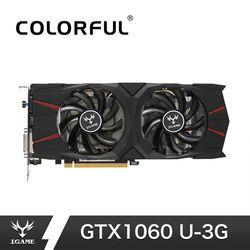 Colorful iGame GTX1060 U 3G Video Graphics Card Boost 1771MHz 192Bit GDDR5 PCI-E 3.0 GTX 1060 3*DP+HDMI+DVI Gaming Card For PUBG