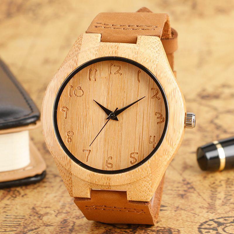 Montre en bois hommes bambou roman mode moderne Sport femmes horloge Nature bois Quartz montres bracelet en cuir véritable