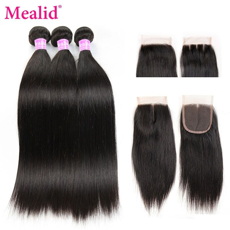 Mealid Brazilian Hair With Closure Straight Hair 3 Bundles With Closure Noremy Natural Color Human Hair Bundles With Closure
