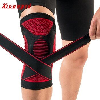Kuangmi Silicone Knee Pads Volleyball Knee Sleeve Elastic Knee Brace Support Sports Adjustable Bandage knee Protector Basketball