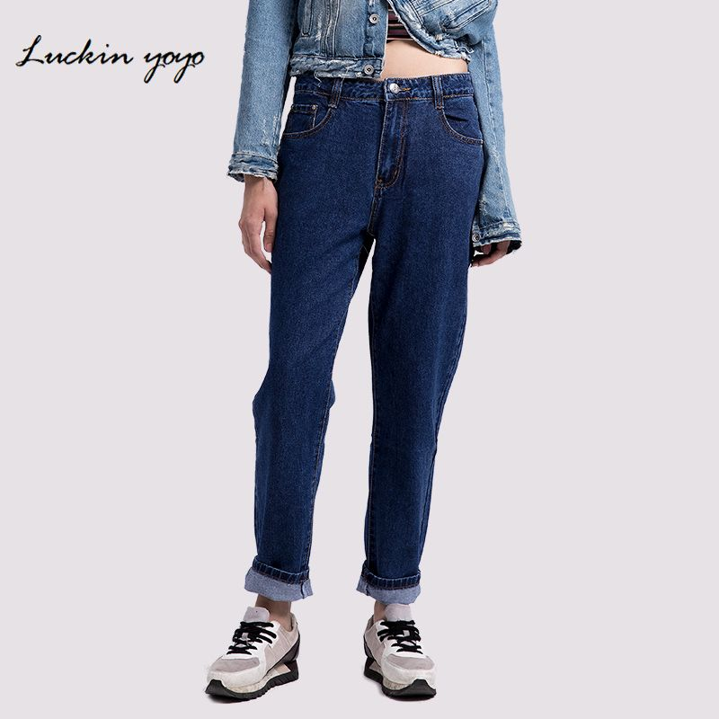 Lukin yoyo 2018 Plus Size jeans women Mom Jeans High Waist Denim women pants Casual Loose Straight Blue Women Jeans