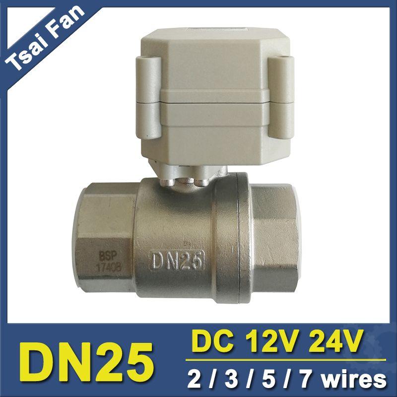 NPT/BSP 1 SS304 Motorventil DC12V/DC24V 2/3/5/7 Drähte DN25 Elektrokugelhahn Für Wasser-regelungstechnik CE/IP67