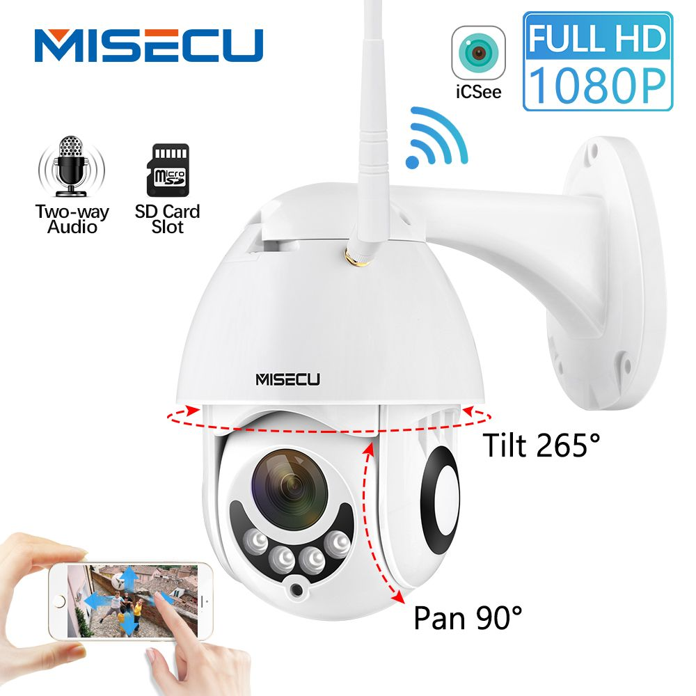 MISECU 1080P Speed Dome Outdoor Wifi Drahtlose PTZ IP Security Kamera 2MP Zwei Weg Audio Sd-karte IR Vision video Hause