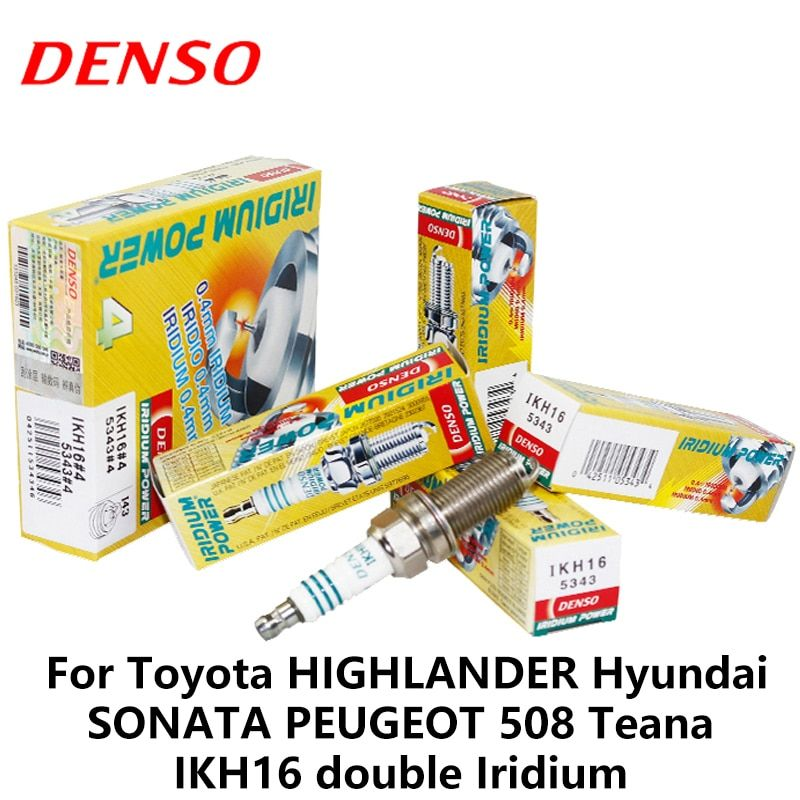 4pieces/set DENSO Car Spark Plug For Toyota Highlander Hyundai Sonata Peugeot 508 Teana Dodge Chrysler  double Iridium IKH16