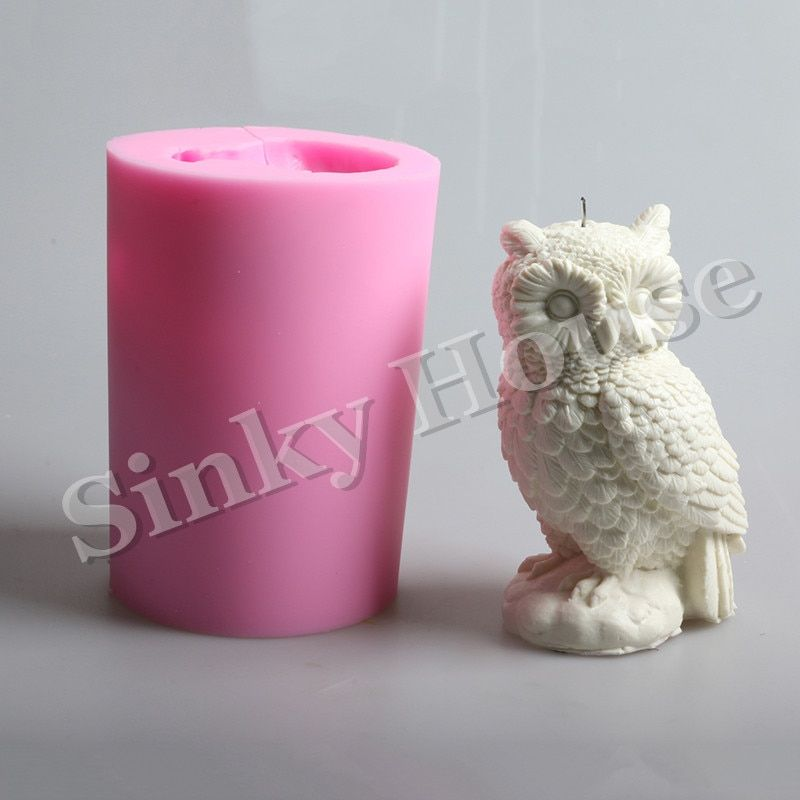 Owl Shaped Big Silicone Candle Molds Free Shipping Clay Animal Silicone Soap Molds