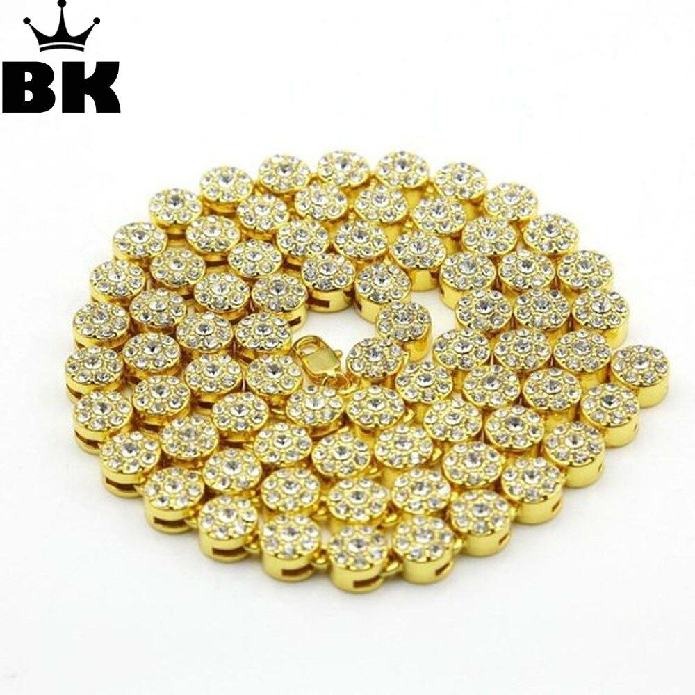 MEN'S 1 ROW Cluster Chain ICED OUT RHINESTONE YELLOW GOLD Color HIP HOP <font><b>BLING</b></font> 10MM 30INCH MEN CHAIN NECKLACE JEWELRY