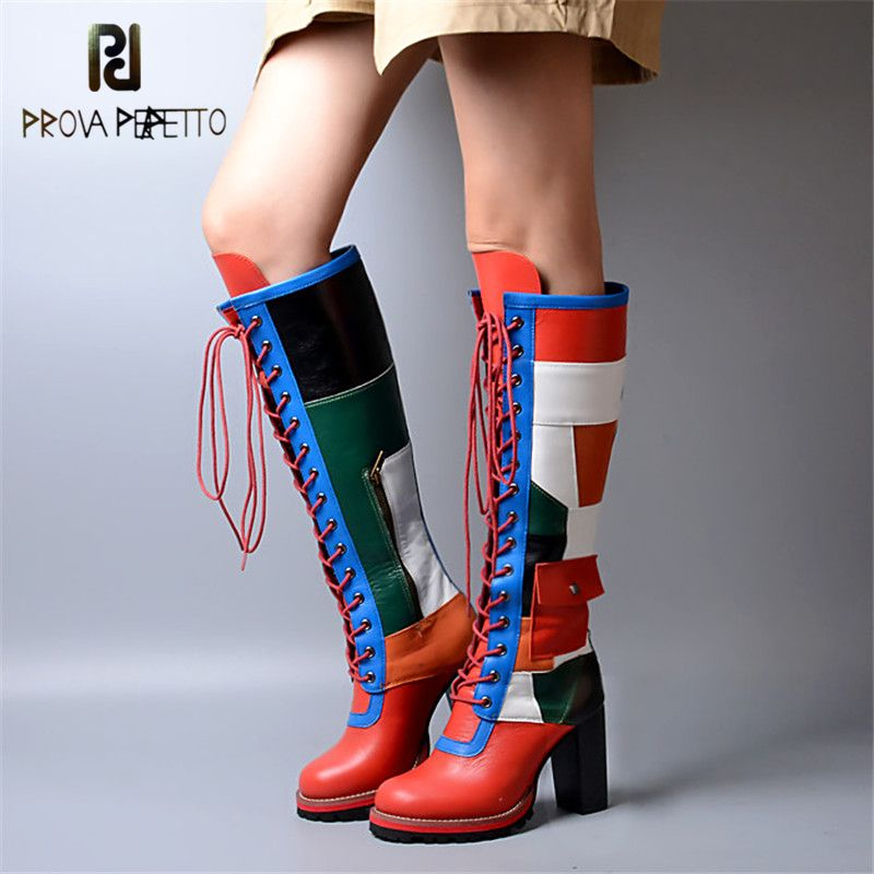 Prova Perfetto Winter Fashion Mixed Color Cow Genuine Leather Patchwork Boots Cross-tied Thickness Bottom Chunky High Heel Boots