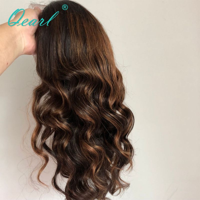 Full lace Wigs 1B/33#/30# Highlight Ombre Color Real Human Hair Wigs 180%/200% Thick Density Remy Brazilian Wavy Hair Wigs Qearl