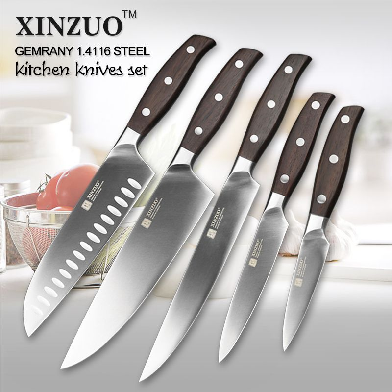 2018 XINZUO Newarrive High Quality 3.5+5+7+8+8inch Paring Utility Santuko Cleaver Chef Knives Stainless Steel Kitchen Knife Sets