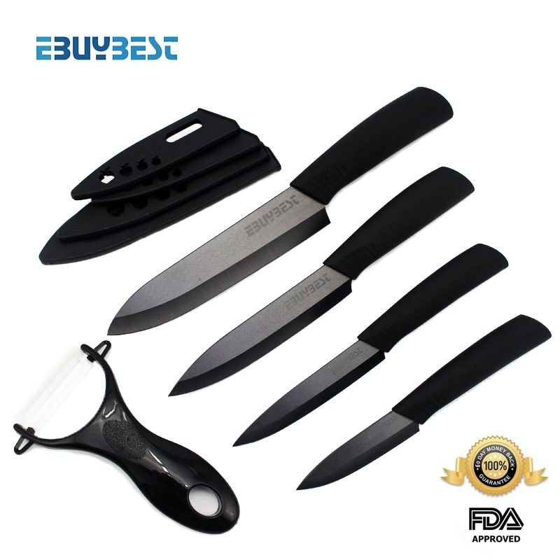<font><b>zirconia</b></font> ceramic knife set 3 4 5 6 inch + Peeler + covers black blade black colors handle home kitchen knives free shipping