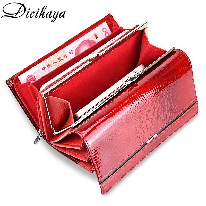 DICIHAYA portefeuille Femme en cuir véritable multifonction portefeuille Femme marque sacs à main Femme Billetera porte-carte sac de téléphone