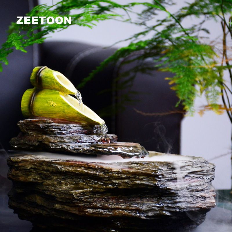 110-240V Feng Shui Resin Bamboo Rockery Water Fountain Fish tank Atomizer Air Humidifier Creative Lucky Office Tabletop Ornament