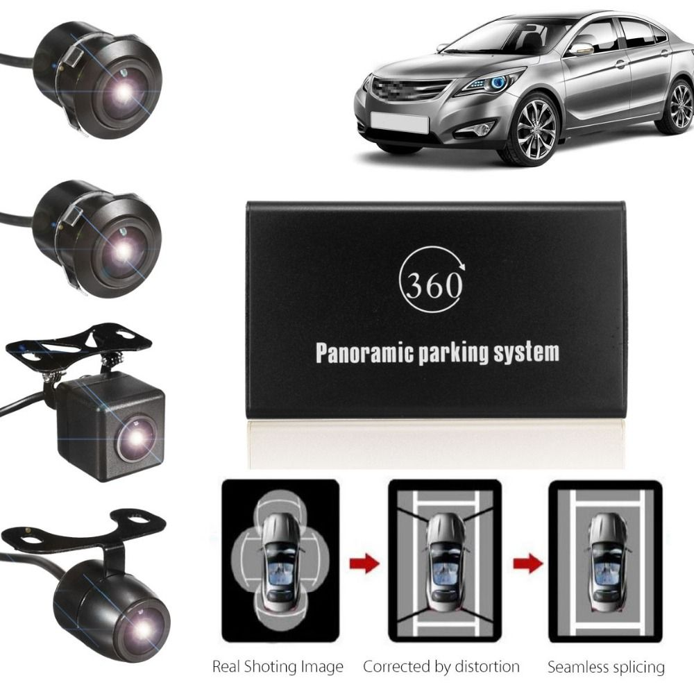KROAK Durable Quality 360 Degree Bird View Panoramic System 4 Camera Car DVR Recording Parking Rear View Cam