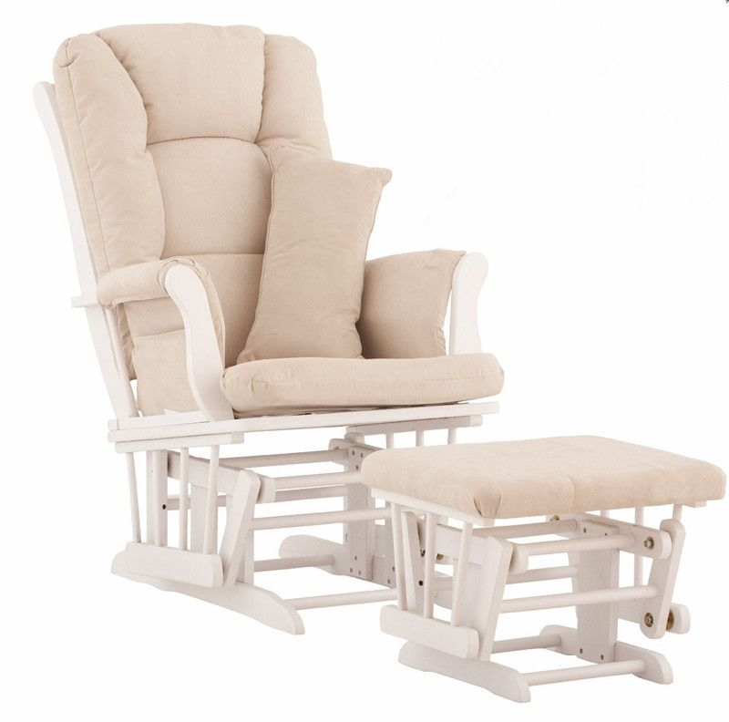 Nursery Rocker and Gliders Ottoman Wood Rocking Chair With Padded Cushion Living Room Furniture Modern Rocking Chair for Nursery