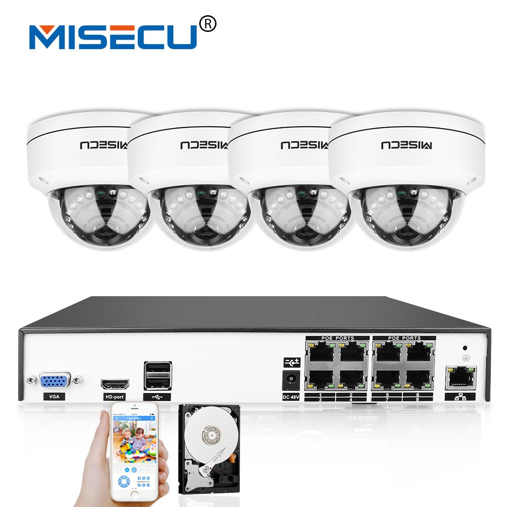 MISECU 4K H.265/H.264 IEE802.3af 48V PoE CCTV System 8CH HDMI IR Vandalproof 4.0MP Metal Camera Plug-Play Motion Night Security