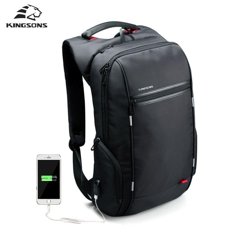 Kingsons Men Backpacks 13'' 15'' 17'' Laptop Backpack USB <font><b>Charger</b></font> Bag Anti-theft Backpack for Teenager Fashion Male Travel