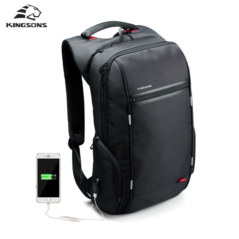 Kingsons Men Backpacks 13'' 15'' 17'' <font><b>Laptop</b></font> Backpack USB Charger Bag Anti-theft Backpack for Teenager Fashion Male Travel
