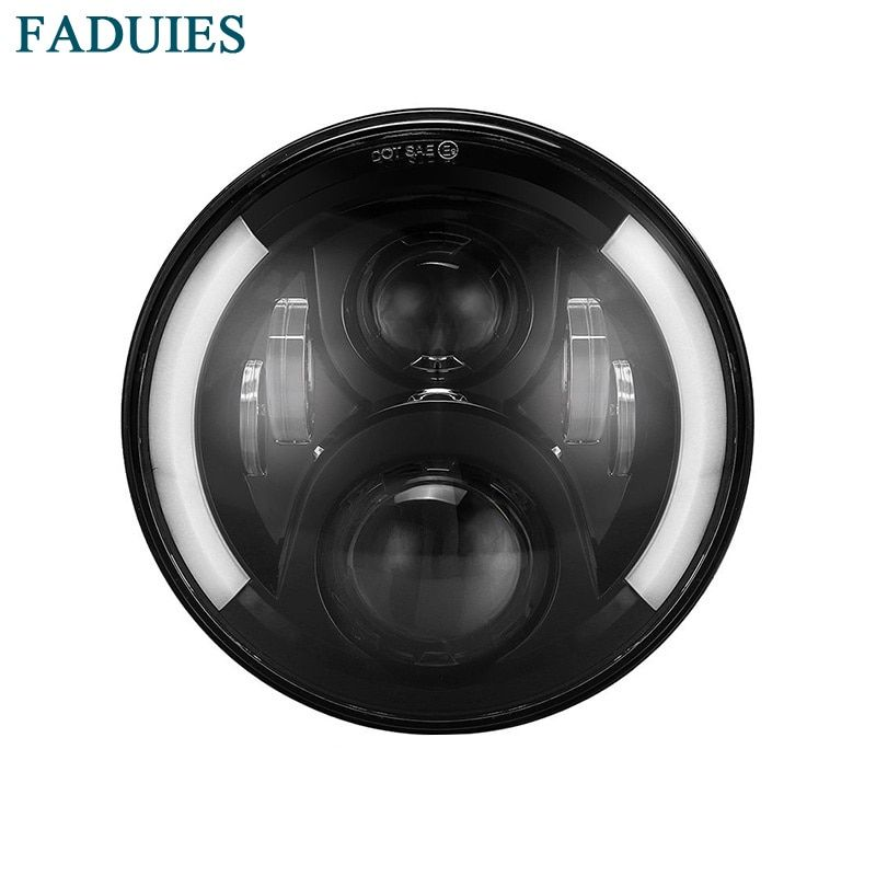 FADUIES 7 inch round Motorcycle Projector Daymaker LED Headlight With Halo & DRL &Turn light For Harley Davidson Street Glide