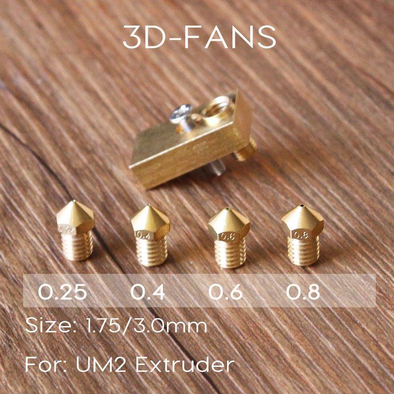 1Set 3D Printer Ultimaker 2+UM2 Extended + Olsson Block Kit For 1.75/3mm Filament E3D Olsson Block Hotend Interchangeable Nozzle