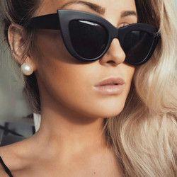 2018 новые женские солнцезащитные очки кошачий глаз матовые черные брендовые дизайнерские солнцезащитные очки кошачий глаз женские очки UV400