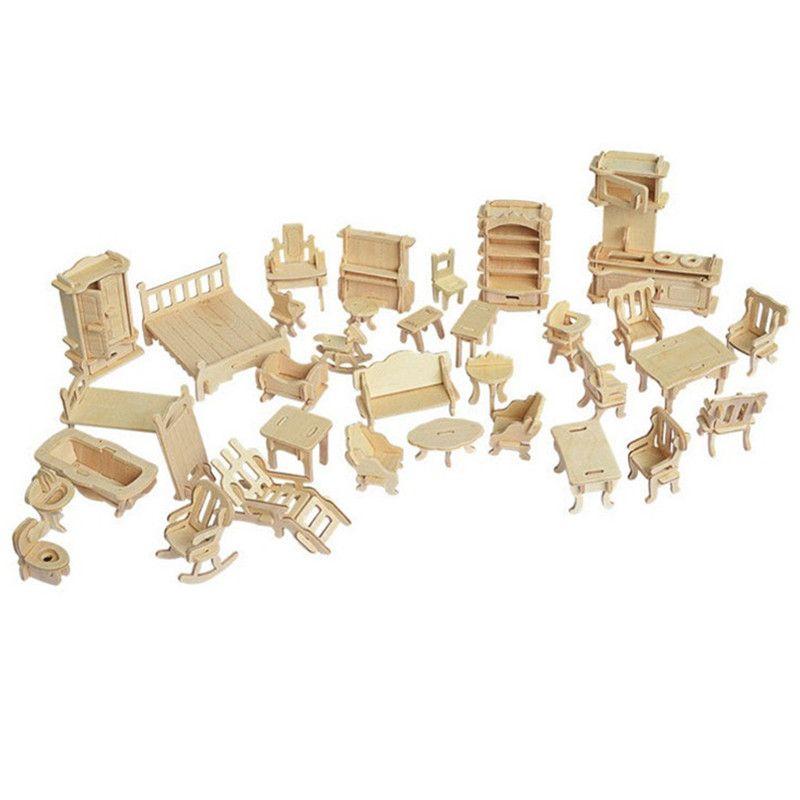 34 Unids/set Miniatura Dollhouse Muebles para 3D Mini Muñecas Rompecabezas De Madera DIY Modelo de Construcción Juguetes Regalo de Los Niños