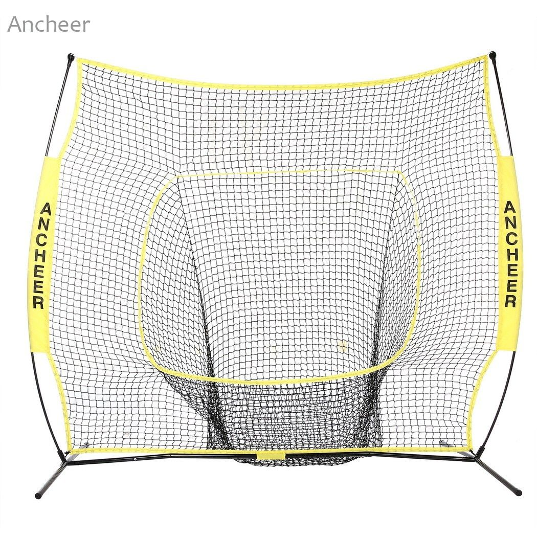 Durable 7 x 7ft Softball Baseball Practice Net with Bow Frame Compact Carrying Bag Softball Training Net Outdoor Training