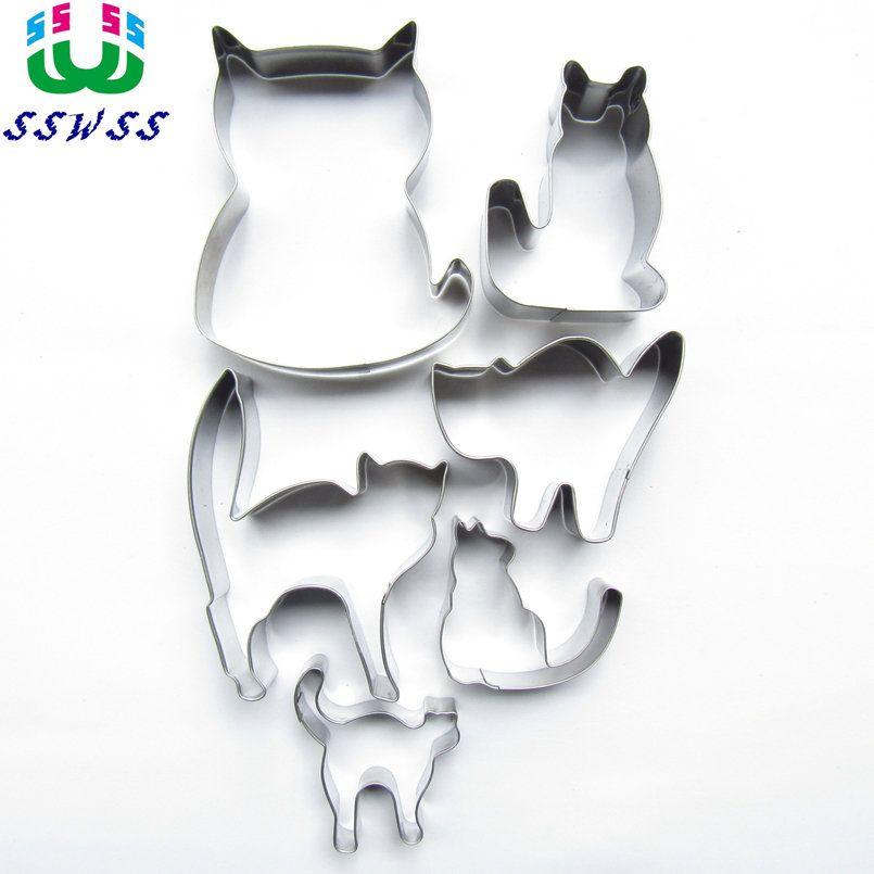 Six moules de cuisson de Biscuit de Biscuit de gâteau de forme de chats animés, outils de coupe de Fondant de décoration de gâteau d'animal, vente directe