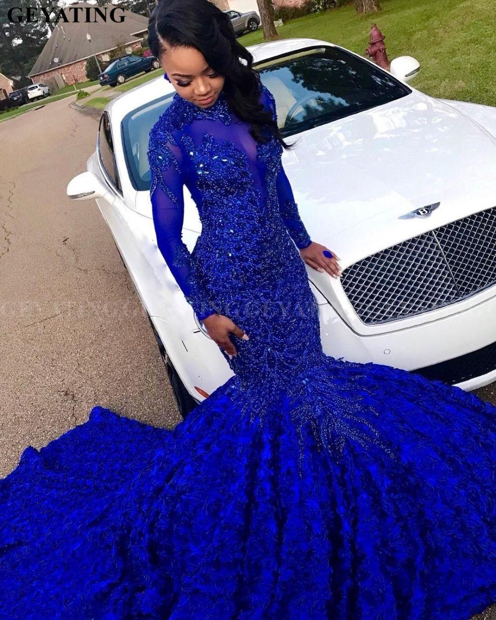 Luxus 3D Blume Meerjungfrau Königsblau Afrikanische Abendkleid Mit Langen Ärmeln Kapelle Zug Perlen Kristall Plus Größe Graduation Party Kleid