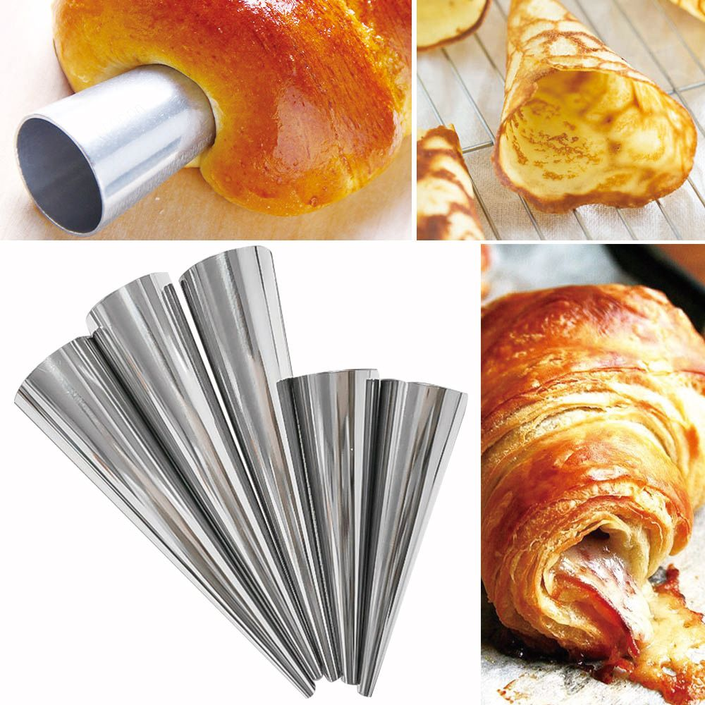 12pcs/set Stainless Steel Spiral Croissants Molds Pastry Cream Horn Cake Bread Mold Conical Tube Cone Roll Moulds