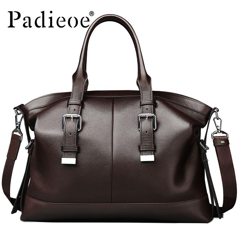 2016 Newest Design Vintage style Mens Genuine leather Briefcase Messenger Bag Business Shoulder Bag Brand Leather Office Bags