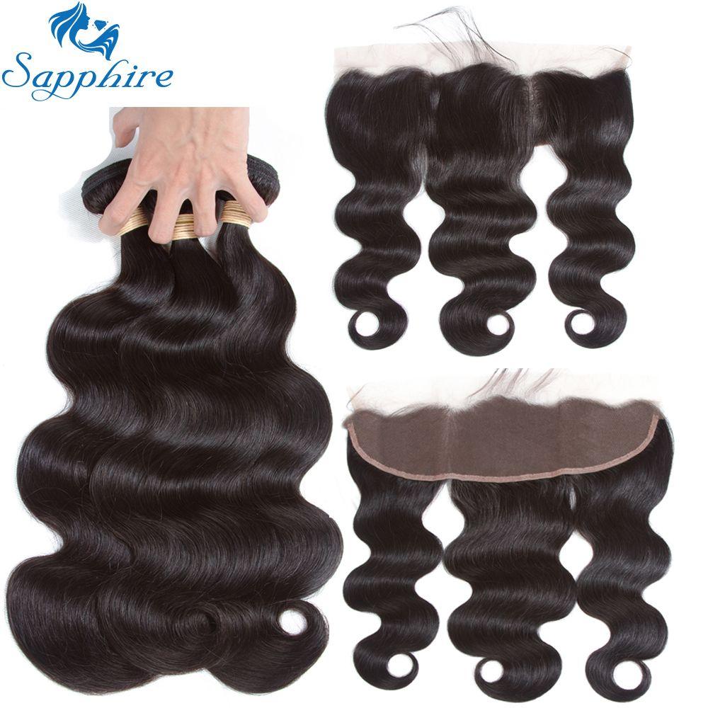 Sapphire Human Hair Peruvian Body Wave Human Hair Bundles With Lace Frontal Closure 100% Human Hair 3 Bundles With Lace Frontal