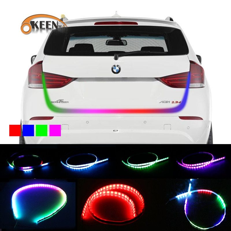 OKEEN Car Styling RGB Undercarriage Floating Led Dynamic Streamer Turn <font><b>Signal</b></font> LED trunk strip Light Luggage Compartment Lights