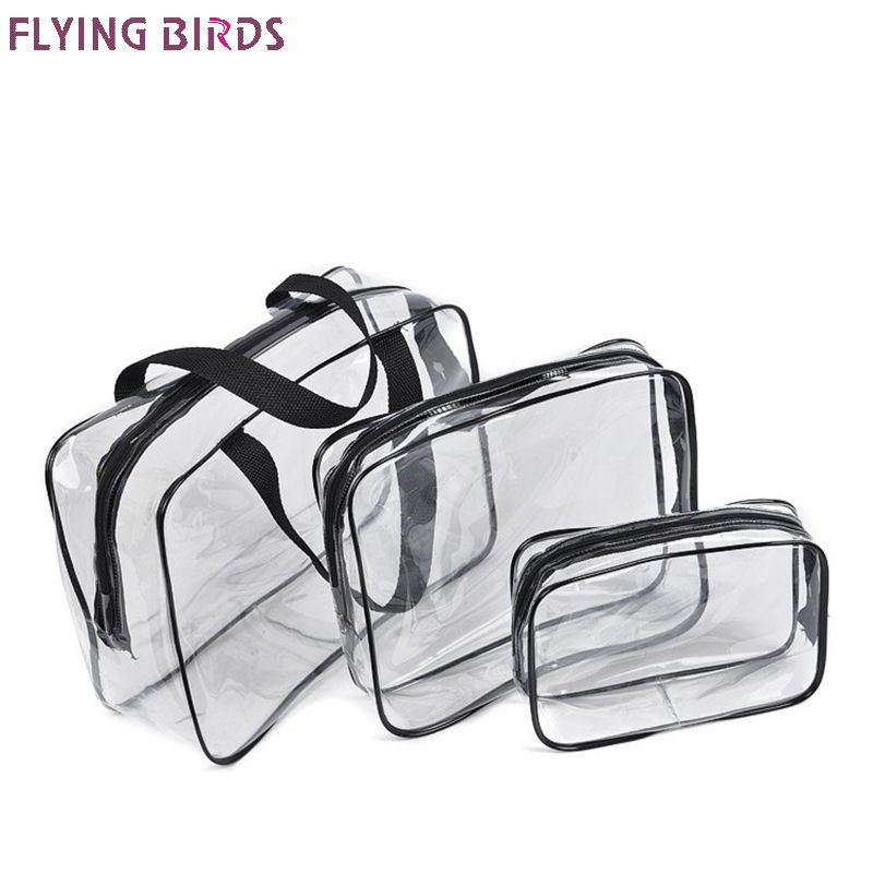 FLYING BIRDS 3 pcs/set Transparent PVC Cosmetic Bags Multi-function Storage Bag Female Finishing Wash  Bag Travel Package a1349