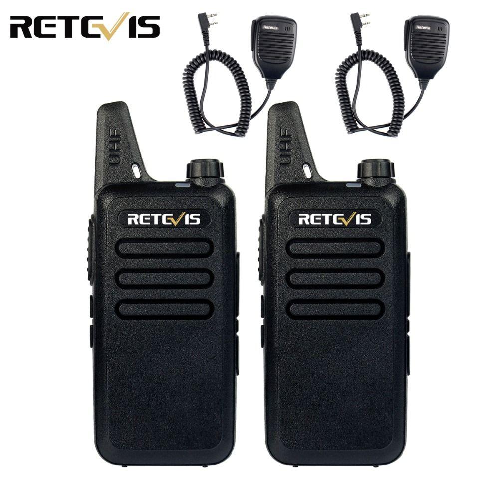 2pcs Mic+2pcs Mini Walkie Talkie Retevis RT22 2W UHF 400-480MHz CTCSS/DCS TOT VOX Scan Squelch Two Way Radio Communicator A9121A