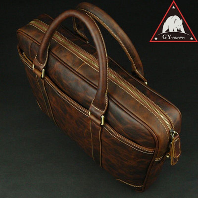 ANAPH Herrenhandtaschen Leder Laptoptaschen/Herren Business Umhängetasche/Schlank Büroarbeit Tote/Top qualität In Schokolade